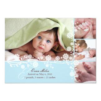 青く敏感な花の男の赤ちゃんの発表も カード