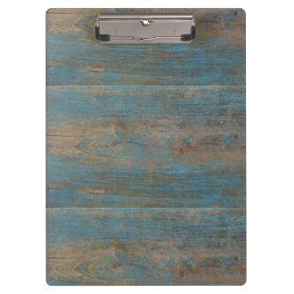 青く模造のなビーチ木質 クリップボード