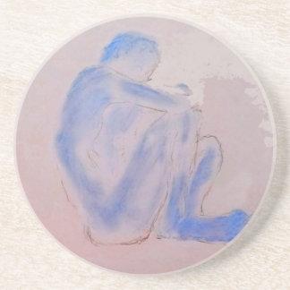 青く比ゆ的な藤色の芸術 コースター