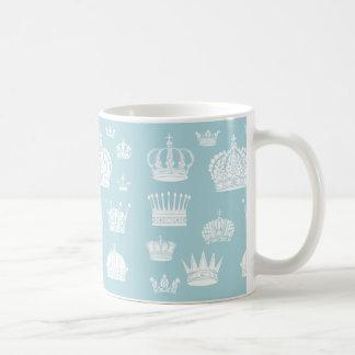 青く王室のな王冠パターンマグ コーヒーマグカップ