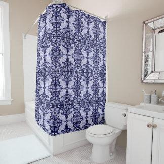 青く白いウサギの鳥はシャワー・カーテンDedhamをタイルを張りました シャワーカーテン