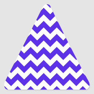 青く白いシェブロン 三角形シール
