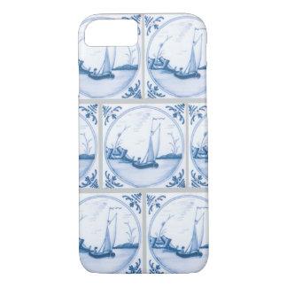 青く白いデルフトのヨットののどはiPhoneの箱をタイルを張ります iPhone 8/7ケース