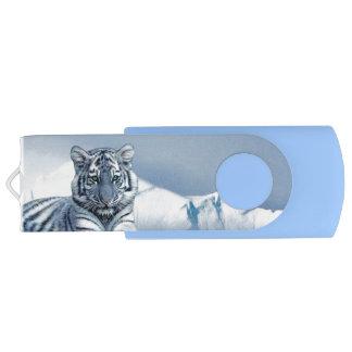 青く白いトラ USBフラッシュドライブ