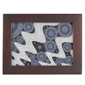 青く白いレトロの抽象芸術 アクセサリーケース