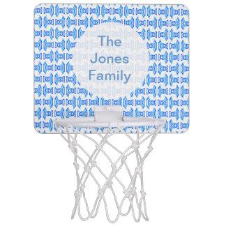 青く白いレトロパターン ミニバスケットボールゴール