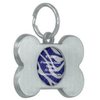 青く白い円のシマウマの抽象芸術 ペットネームタグ