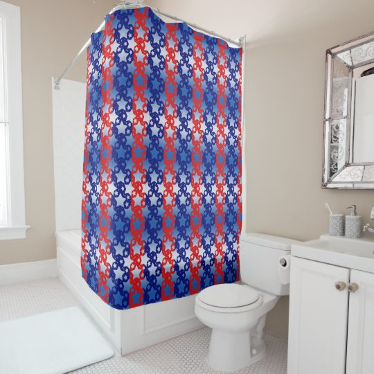 青く白い星の赤い青い縞 シャワーカーテン