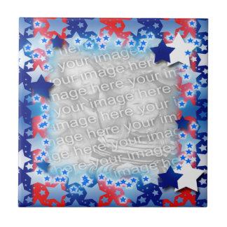 青く白い星の赤い青い縞 タイル