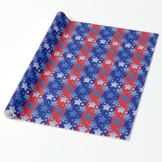 青く白い星の赤い青い縞 ラッピングペーパー