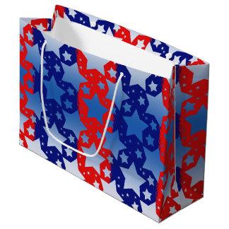 青く白い星の赤い青い縞 ラージペーパーバッグ
