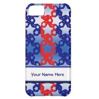 青く白い星の赤い青い縞 iPhone5Cケース