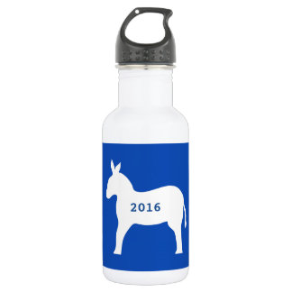 青く白い民主党員のろばの記号2016の選挙 ウォーターボトル