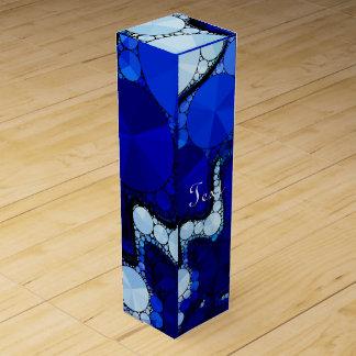 青く白い波状の抽象芸術 ワインギフトボックス