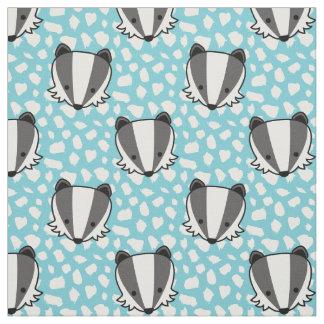 青く白い灰色-アナグマパターン ファブリック