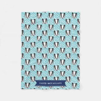 青く白い灰色-アナグマパターン-名前 フリースブランケット