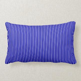 青く白い細い縦縞 ランバークッション