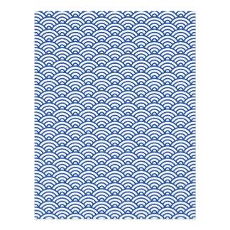 青く白いJapaneeseの波のスクラップブックか技術の紙 レターヘッド