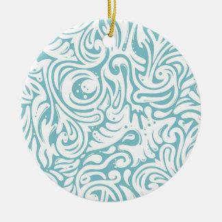 青く白いTattoの渦巻スクロールパターン セラミックオーナメント