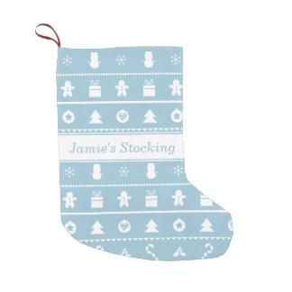 青く白くモダンでスタイリッシュで画像的なクリスマスパターン スモールクリスマスストッキング