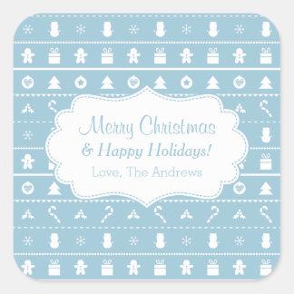 青く白く醜いクリスマスのセーターアイコンパターン スクエアシール