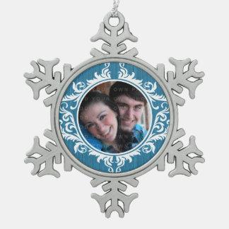 青く素朴な渦巻の休日の写真のオーナメント スノーフレークピューターオーナメント
