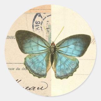青く美しく粋なステッカーのヴィンテージの蝶 ラウンドシール