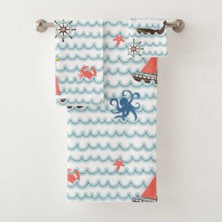 青く航海のな場面パターン子供タオルセット バスタオルセット