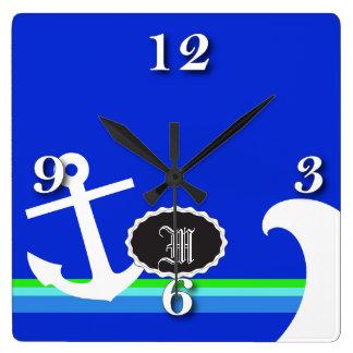 青く航海のな海 スクエア壁時計