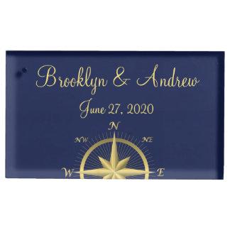 青く航海のな結婚式のテーブルカードホルダー
