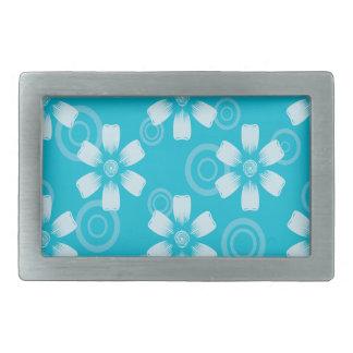 青く色彩の鮮やかな花及び点の陰 長方形ベルトバックル