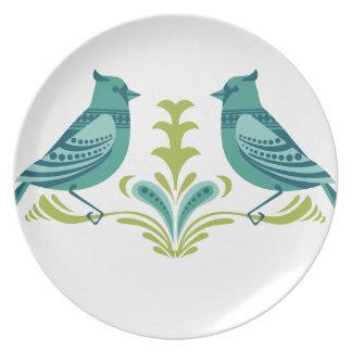 青く装飾的な鳥 プレート