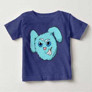 青く邪悪なバニーの頭部のワイシャツ ベビーTシャツ