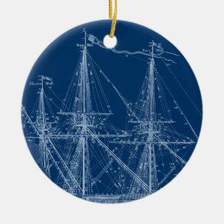 青く高い帆船の青写真 セラミックオーナメント
