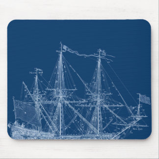 青く高い帆船の青写真 マウスパッド