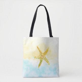 青く黄色いヒトデの水彩画 トートバッグ