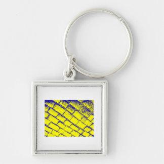 青く黄色い玉石 キーホルダー