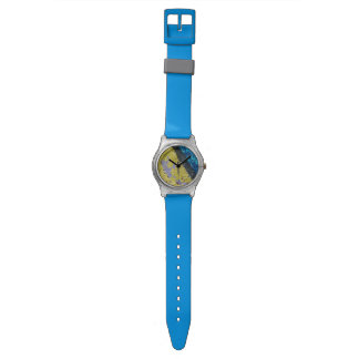 青く黄色く黒い及び灰色の都市腕時計 腕時計