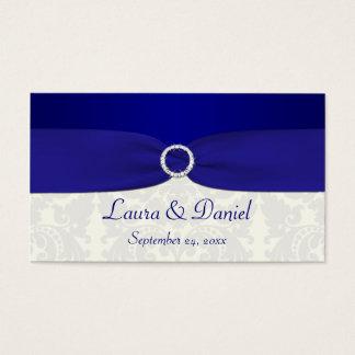 青く、アイボリーのダマスク織の結婚式の引き出物のラベル 名刺