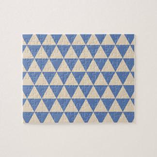 青く、クリームがかった白の三角形パターン ジグソーパズル