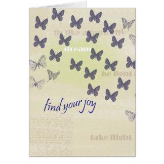 青く、クリーム色喜びの蝶 カード