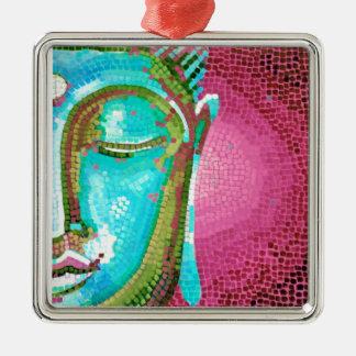 青く、ピンクの仏はモザイクに直面します メタルオーナメント