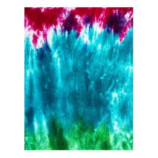 青く、ピンクの、緑の絞り染め ポストカード