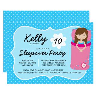 青く、ピンクのSleepoverのパーティーの誕生日の招待状 カード