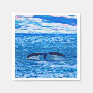 青く、ピンククジラの尾フラクタル スタンダードカクテルナプキン
