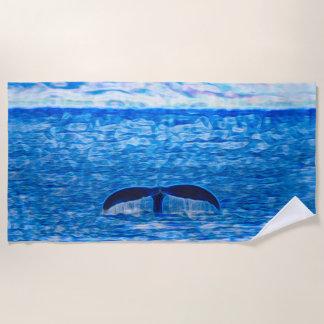 青く、ピンククジラの尾フラクタル ビーチタオル