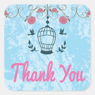 青く、ピンク水彩画は花の鳥かご感謝していしています スクエアシール