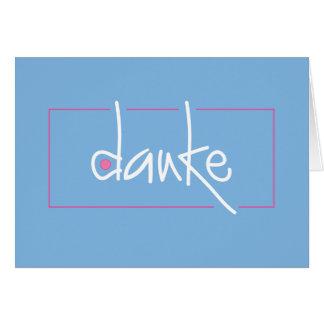 青く、ピンクDankeはあらゆる言語の感謝していしています カード