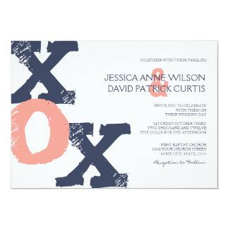 青く、ピンクXOXの結婚式招待状 カード