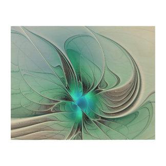 青く、モダンなフラクタルの芸術の抽象芸術 ウッドウォールアート